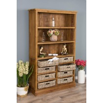 Rustic Reclaimed Teak Bookcase with Kubu baskets