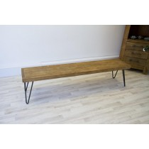 Reclaimed Elm Hairpin Legged Bench