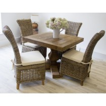 Reclaimed Elm 100cm Square Pedestal Table with 4 Latifa Chairs