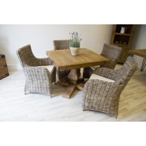 Reclaimed Elm 100cm Square Pedestal Table with 4 Donna Armchairs
