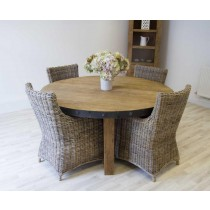 Reclaimed Elm 160cm circular table with wrought iron trim and four Donna chairs