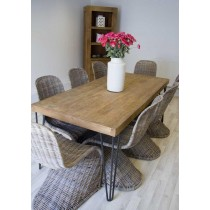 Reclaimed Elm 190cm Hairpin Leg Dining Table with Eight Zorro Chairs