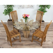 1.2m Reclaimed Teak Flute Root Circular Dining Table with 4 or 6 Santos Dining Chairs