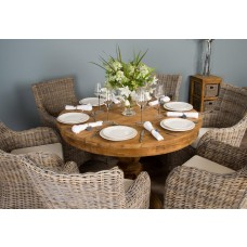 1.2m Reclaimed Teak Circular Pedestal Table With 6 Donna Chairs