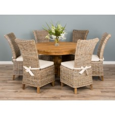 1.2m Reclaimed Teak Circular Pedestal Table With 6 Latifa Chairs