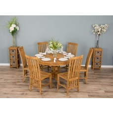 1.2m Reclaimed Teak Circular Pedestal Table With 6 Santos Chairs