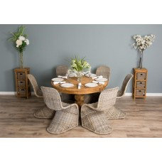 1.2m Reclaimed Teak Circular Pedestal Table With 6 Stackable Zorro Chairs