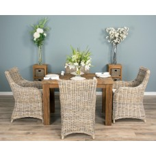 1.2m Reclaimed Teak Taplock Dining Table with 4 Donna Chairs