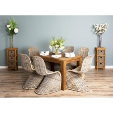 1.2m Reclaimed Teak Taplock Dining Table with 6 Stackable Zorro Chairs