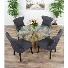 1.2m Reclaimed Teak Flute Root Circular Dining Table with 4 or 6 Dove Grey Windsor Ring Back Dining Chairs