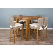 Reclaimed Teak Rectangular Bar Table with 6 Kubu Stools