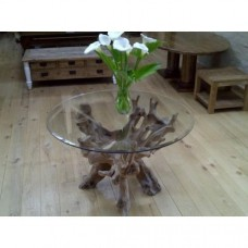 1.2m Reclaimed Teak Root Circular Dining Table with 4 Vikka Chairs
