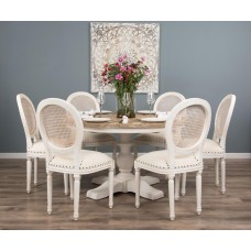1.3m Reclaimed Pine Country Pedestal Table with Six Ellena Chairs