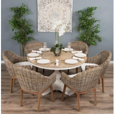 1.3m Reclaimed Pine Country Pedestal Table with Six Scandi Armchairs