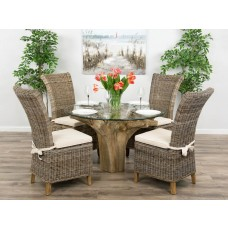 1.2m Reclaimed Teak Flute Root Circular Dining Table with 4 or 6 Latifa Dining Chairs