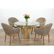 1.2m Reclaimed Teak Flute Root Circular Dining Table with 4 or 6 Kubu Wicker Scandi Armchairs