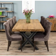 2.4m Reclaimed Teak Urban Fusion Cross Dining Table with 8 or 10 Velveteen Ring Back Dining Chairs