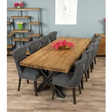 2.4m Reclaimed Teak Urban Fusion Cross Dining Table with 8 or 10 Dove Grey Windsor Ring Back Dining Chairs