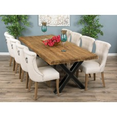 2.4m Reclaimed Teak Urban Fusion Cross Dining Table with 8 or 10 Natural Windsor Ring Back Dining Chairs