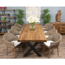 3m Reclaimed Teak Urban Fusion Cross Dining Table with Eight or Ten Scandi Armchairs