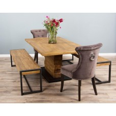 2m Reclaimed Teak Urban Fusion Pedestal Dining Table with Two Backless Benches and Two Stone Velveteen Ring Back Dining Chairs