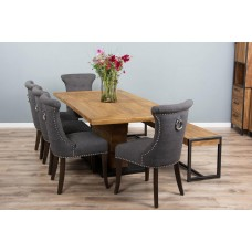 2m Reclaimed Teak Urban Fusion Pedestal Dining Table with One Backless Bench and Five Dove Grey Windsor Ring Back Dining Chairs