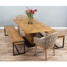 2m Reclaimed Teak Urban Fusion Pedestal Dining Table with Two Backless Benches and Two Kubu Wicker Scandi Armchairs