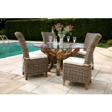 Teak Root Garden Dining Table with Kubu Wicker Latifa Dining Chairs