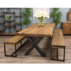 3m Reclaimed Teak Urban Fusion Cross Dining Table with Two Backless Benches - With or Without Two Scandi Armchairs
