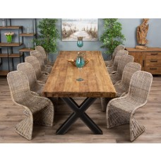 3m Reclaimed Teak Urban Fusion Cross Dining Table with 10 or 12 Zorro Dining Chairs