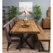 3m Reclaimed Teak Urban Fusion Cross Dining Table with One Backless Bench and 5 or 7 Velveteen Ring Back Dining Chairs