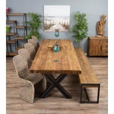 3m Reclaimed Teak Urban Fusion Cross Dining Table with One Backless Bench and Five or Seven Zorro Dining Chairs
