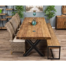 3m Reclaimed Teak Urban Fusion Cross Dining Table with One Backles Bench and Four or Six Latifa Dining Chairs