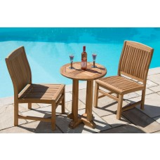 Teak Circular Pedestal Table 60cm with 2 Marley Chairs - With or Without Arms