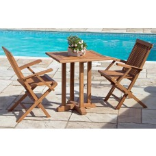 70cm Square Pedestal Garden Table with 2 Classic Folding Armchairs