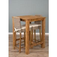 Reclaimed Teak Square Bar Table with 2 Kubu Stools