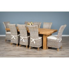 2.4m Reclaimed Teak Dining Table with 8 Latifa Dining Chairs