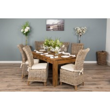 2m Rustic Recycled Teak Dining Table with 6 Latifa Chairs