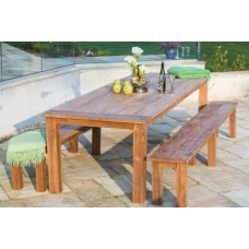 3m Reclaimed Teak Open Slatted Dining Table with 2 Open Slatted Backless Benches - Outdoor