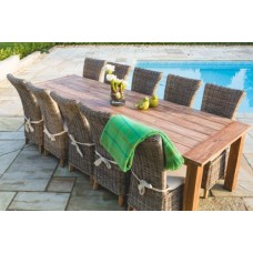 Reclaimed Teak Open Slatted Dining Table 3m with Latifa Chairs