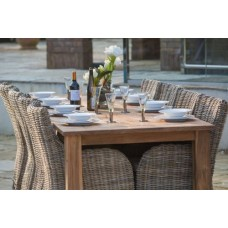 Reclaimed Teak Open Slatted Dining Table 2.4m with Donna Armchairs