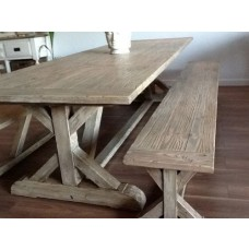 2.4m Reclaimed Pine Cross Dining Bench