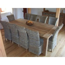 Large Reclaimed Teak Table Taplock 240 and Chair set with 10 Natural Wicker Chairs