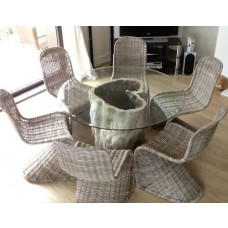1.5m Java Root Table with 6 Zorro Chairs