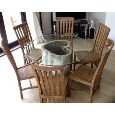 1.5m Java Root Table with 6 Santos Chairs