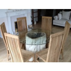 1.5m Java Root Table with 6 Vikka Chairs