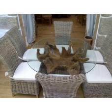 1.5m Oval or Rectangular Reclaimed Teak Root Dining Table with 6 Latifa Chairs
