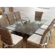 1.8m Rectangular Teak Root Dining Table with 8 Latifa Chairs