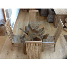 1.2m Square Reclaimed Teak Root Dining Table with 4 Vikka Chairs
