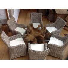 1.2m Square Reclaimed Teak Root Dining Table with 6 Donna Armchairs